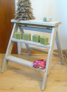 Shabby Chic Vintage Rustic Wooden Step Ladder painted in Farow & Ball 'BONE'