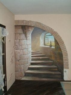 Ideas wall stone interior stairs for 2019 Art Mural 3d, Mural Wall Art, Mural Painting, Painted Wall Murals, Image Painting, Stone Interior, Interior Stairs, Wall Design, House Design