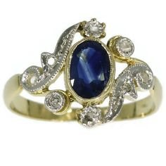 Belle Epoque sapphire and diamond ring in 18k yellow gold