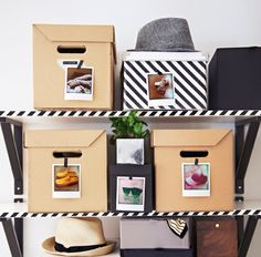 Tape pictures of your storage items to the outside of your boxes for an easy overview. That way you can find the stuff you need when you need it, and put it away again fast, too.