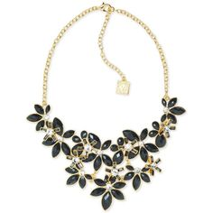 Anne Klein Gold-Tone Stone and Crystal Floral Statement Necklace ($75) ❤ liked on Polyvore featuring jewelry, necklaces, black, gold tone jewelry, floral necklace, crystal jewellery, floral jewelry and crystal stone necklace