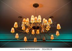 Retro style chandelier lighting decor, colorful light  - stock photo