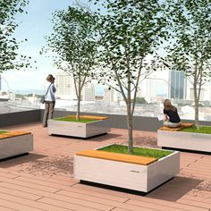 STREETLIFE Air Tubs, lightweight tree planters which can be used to create low-maintenance, recreational roof gardens and terraces