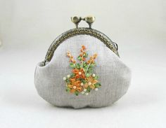 Hand embroidered coin purse, embroidered linen purse, orange flowers, kiss lock…