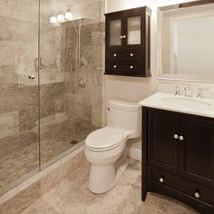 Marbled Tile With Dark Espresso Cabinet And Vanity Small Bathroom
