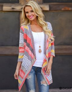 Chic Color Block Striped Cardigan m.OASAP.com
