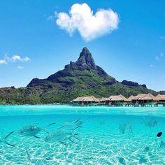 Bora Bora 🐬 Check out 👉 for the best luxury travel photos! Via: 💎 - Photo:© Vacation Places, Honeymoon Destinations, Dream Vacations, Vacation Spots, Places To Travel, Places To See, Beach Vacations, Bora Bora Island, Destination Voyage
