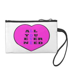 All You Ever Need Love, in a heart, Change Purse and matching cards, all customizable