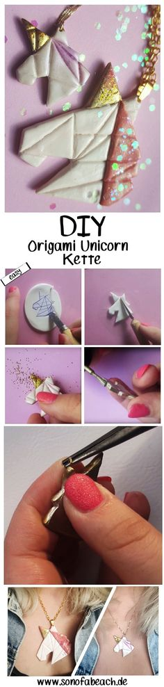 Unicorn Fimo im Origami Look DIY