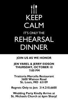 Keep Calm Rehearsal Dinner Invitation