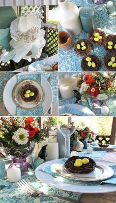 sweet little birds nest table settings for a baby shower...adorable