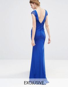 Bridesmaid dress. Jarlo   Jarlo Wedding Fishtail Maxi Dress with Lace Cap Sleeve and Button back at ASOS