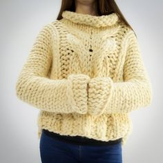 Handmade knitted chunky sweater Handmade very warm and cosy chunky high quality merino wool sweater Chunky sweaters Chunky knit Merino Wool Sweater, Wool Sweaters, Wool Cardigan, Chunky Knitting Patterns, Hand Knitting, Oversized Pullover, Fabric Shaver, Thick Sweaters, Stylish