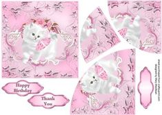 White Kitten corner stacker card - pink