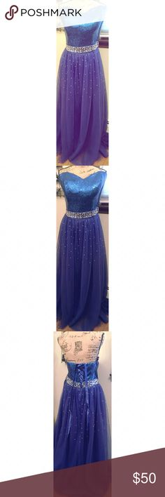 """Royal Blue Prom/ Pagent Gown size 20 This is a pretty royal blue strapless gown with sequence design. It ties up the back for extra room if needed. My daughter never wore it so it's still New. Measures bust 24"""" waist 20"""" length 50"""" from waist down. I also have a similar one listed in my closet with a Jewlery set as well so bundle and save a bunch.  Happy Poshing! Dresses Strapless"""