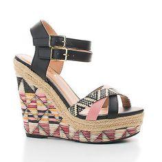 Vianca Aztec Raffia Print Strappy Open Toe High Wedge Sandals