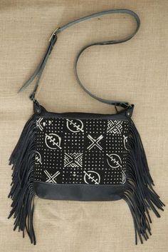 Black Leather Mud Cloth Shoulder Bag with Fringe