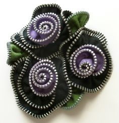 Black and Lavender Violet Multi Flower Floral Brooch / Zipper Pin  - 3003 by…