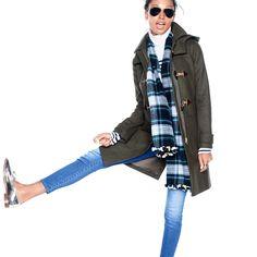 J.Crew Gift Guide: women's toggle coat. 2015 #plaidscarf #scarf