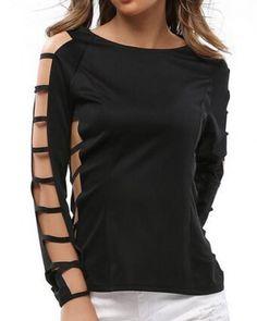 Hollow cut out t shirt for women plain black long sleeve tops