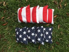 Summer is coming. Start firing up the grill, and icing down the cooler. Its time for some outdoor fun with friends and neighbors. You dont want to be that neighbor with bad cornhole bags, so get a quality set today that any American would be proud to play with!  Set of 8, Cornhole Bags, 4 stars & 4 Stripes.  Last Day to guarantee a Labor Day delivery is Aug 29th.  Add a convenient zippered carry bag to your order!  Add a little Patriotism to your yard games! These ACA/ACO compliant c...