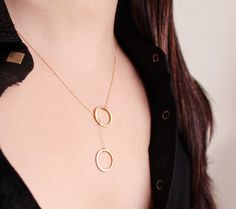 Lariat Circle Necklace - gold vermeil geometric rings modern minimalist jewelry by petitor. $27.00, via Etsy.
