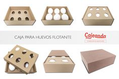 Caja para huevos flotante. Una caja sencilla, segura y automontable. Envase y transporte huevos con total tranquilidad. Gracias a este sistema, los huevos se depositan entre dos láminas sustentadoras que ceden en un sentido u otro amortiguando cualquier golpe. El huevo queda como flotando en el interior de la caja, ofreciendo así una excelente protección. Capacidad: 1/2 docena de huevos.