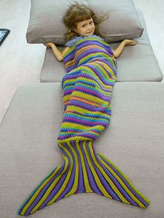 Comfortable Colored Stripe Knitted Mermaid Blanket in Colormix | Sammydress.com