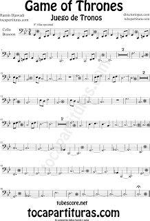 Partitura de Juego de Tronos para Violonchelo y Fagot by Game of Thrones Sheet Music for Cello and Bassoon by Ramin Djawadi Music Scores Oboe, Bassoon, Trombone, Saxophone, Game Os Thrones, Trumpet Sheet Music, Music Score, Music Games, Band