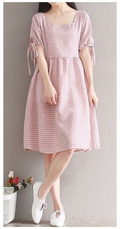 eBay #tunics #for #women #indian #short Women loose fit plus over size retro checkered dress bow ribbon sleeve fashion #unbranded Trendy Dresses, Elegant Dresses, Nice Dresses, Casual Dresses, Short Sleeve Dresses, Dresses With Sleeves, Maxi Dresses, Modest Dresses, Long Sleeve