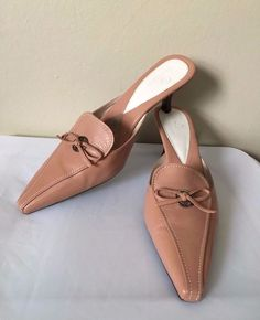 Cole Haan Womens Taupe Leather Square Toe Slip On Mules Pumps Size 8.5  | eBay
