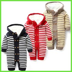 Baby Rompers Baby Winter Coveralls Infant Boy Girl Fleece Romper Ropa Nena Invierno Knitted Stripe Jumpsuit Bebe Newborn Outwear
