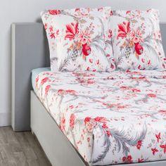 Drap plat + drap housse + 2 taies  Edwige blanc, rouge et gris  satin