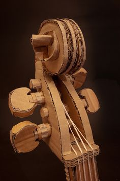 cello head by mark_obrien, via Flickr Cardboard Guitar, Cardboard Sculpture, Toilet Paper Crafts, Cardboard Box Crafts, Cardboard Cartons, Presents For Boyfriend, Music For Kids, Cute Crafts, Diy Crafts