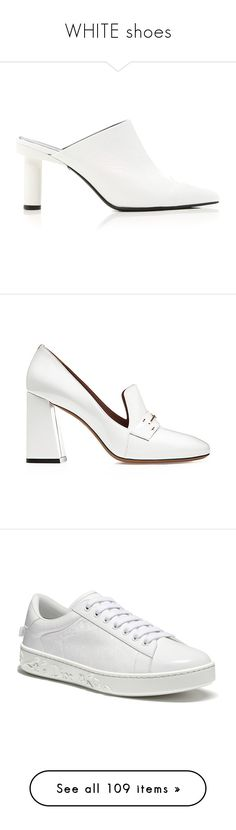 """WHITE shoes"" by jckyleeah ❤ liked on Polyvore featuring white, whiteshoes, shoes, patent shoes, tibi shoes, tibi mules, patent leather mules, patent leather shoes, pumps and bally shoes"