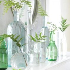 Don't underestimate the impact of a single sprig of greenery  in a jar - especially ferns and other intricate leaves - this collection of glass bottles and ferns is lovely - i love the way they used clear as well as slightly colored green to blue glass bottles