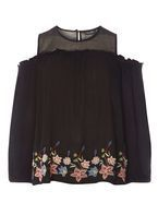 Womens **Tall Mesh Embroidered Top- Black