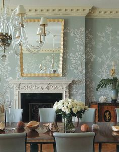 Wallpaper behind fireplace