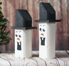 Wooden Snowman Snowmen - Rustic Christmas Decor-Christmas-GFT Woodcraft