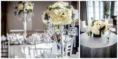 Beautiful flowers from Laurel's On Whyte - White Hydrangea, roses and anemone on silver sequin tablecloths