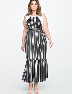 View our Pleated Maxi Dress with Tie Waist Detail and shop our selection of designer women's plus size Dresses, clothing and fashionable accessories. Plus Size Dresses, Plus Size Outfits, Dresses For Work, Summer Dresses, Striped Maxi, Pleated Maxi, Fat Girl Fashion, Wrap Jumpsuit, Plus Size Beauty