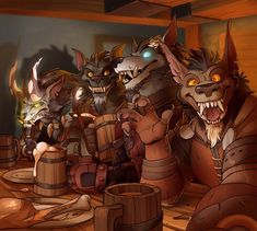 The Brothers Moon Tavern Selfie by magnus An early Christmas artwork for my World of Warcraft guildmates: The Brothers Moon on WyrmrestAccord Anime Furry, Anime Wolf, Furry Wolf, Furry Art, Warcraft Art, World Of Warcraft, Fantasy Creatures, Mythical Creatures, Character Art