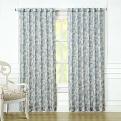 Laura Ashley Chesil Curtain Panel Pair - Blue (80''X84'')
