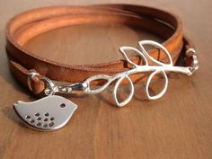 multi wrap camel flat leather bracelet with silver leaf connector and bird