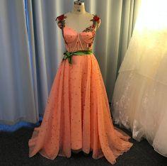 Peach Prom Dresses, Elegant Prom Dresses, A Line Prom Dresses, Cheap Prom Dresses, Formal Dresses, Dress Meaning, Dresser, Beaded Prom Dress, Dress Robes