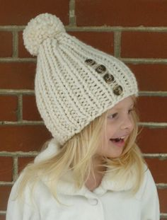 Hand Knit Kids Hat with PomPom and 4 Brown Buttons YOU CHOOSE COLOR - Knit Toddler Hat - Knit Children's Hat  - Knit Girls Hat Knit Boys Hat...
