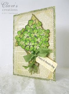 Shamrock card by cbuswell - Cards and Paper Crafts at Splitcoaststampers St Patricks Day Cards, Happy St Patricks Day, Saint Patricks, St Paddys Day, Luck Of The Irish, Stamping Up Cards, Homemade Cards, Handmade Christmas, Cardmaking