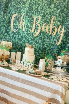 Check out this impressive safari baby shower! What a beautiful dessert table! See more party ideas and share yours at Catchmyparty.com #catchmyparty #partyideas #safari #safaribabyshower #safariparty #safarianimals