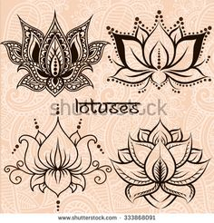 Set of illustration decorative lotuses - stock vector Mais
