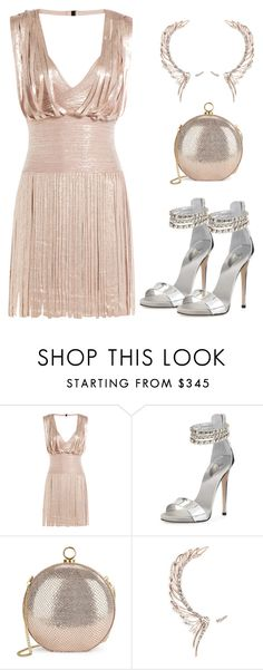 """""""Metallic Dress"""" by junglover ❤ liked on Polyvore featuring Hervé Léger, Giuseppe Zanotti, Halston Heritage and Cristina Ortiz"""